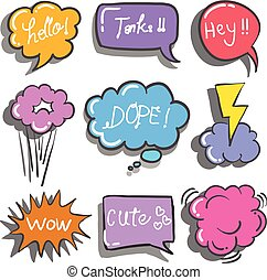 Doodle of text balloon set colorful