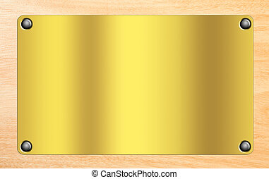 Golden plate on wooden background.Space to insert tex o...