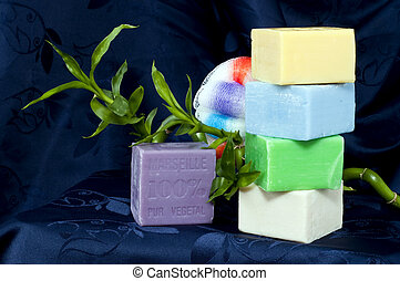 Health and Beauty 1 - Composition with natural soap on a...