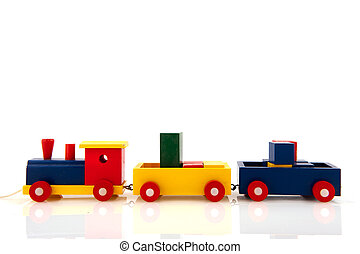 Wooden train - Wooden toy train with colorful blocks...
