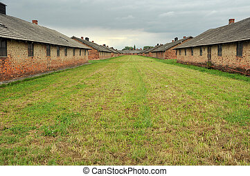Birkenau - houses in concentration camp Birkenau near...