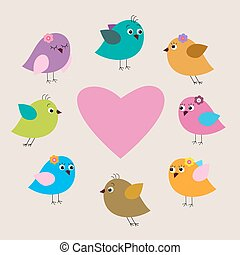 Cute Valentine's day greeting card with birds
