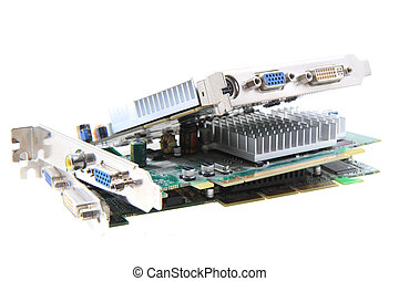 graphic cards isolated on the white background