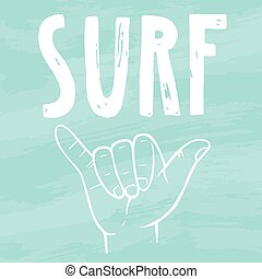 Surfing hand sign. Vector hand drawn illustration