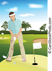 Golf player - A vector illustration of a golf player trying...