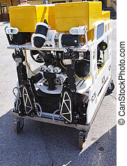 Modern remotely operated underwater vehicle , ROV - detail...