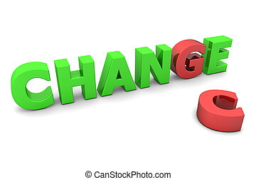 Chance to Change - Red and Green - glossy green word CHANGE...