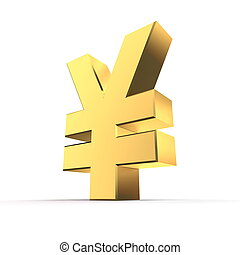 Shiny Yen Symbol - Gold - shiny metal Yen currency sign made...