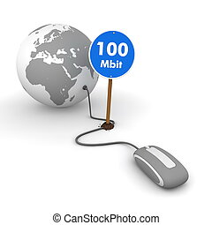Surfing the Web in Grey - Blue 100 Mbit Sign on the Cable -...