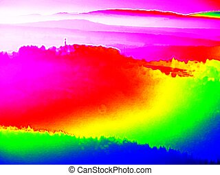 Thermography photo. Hills, forest and fog in ultraviolet...