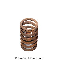 old rusty metal spring isolated on white background
