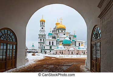 The new Jerusalem monastery Istra, Russia view through the Central arch entrance to the monastery in winter