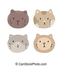 Set of four cats faces.