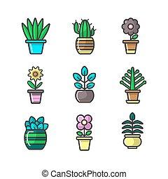 Plants in flower pots vector decoration icons set - Plants...
