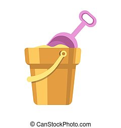 Kid toy or children plaything sand bucket scoop vector icon...