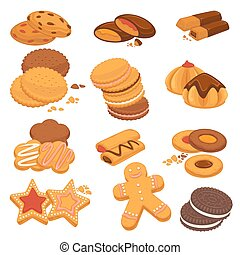 Chocolate cookies and gingerbread biscuits desserts vector...