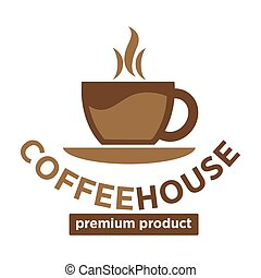 Coffee house, cafeteria or cafe vector icon template -...