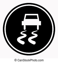 Slippery road warning sign car icy track vector isolated...