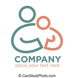 Mother and child care and care social company vector icon -...