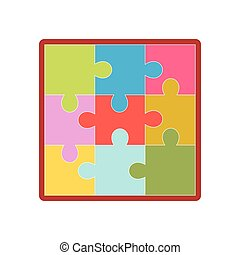 Kid toy children plaything puzzle picture vector icon - Kid...