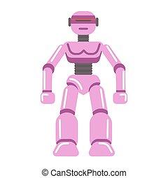 Kid toy children plaything robot transformer vector icon -...
