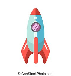 Kid toy children plaything rocket spaceship vector icon -...
