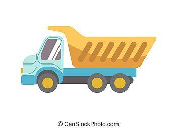 Kid toy children plaything tipper truck vector icon - Kid...