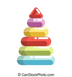 Kid toy children plaything pyramid constructor vector icon -...