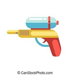 Kid toy children plaything water gun vector icon - Kid toy...