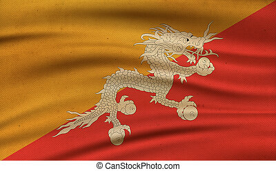Flag of Bhutan. - Vintage background with flag of Bhutan....
