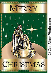 Merry Christmas Green Nativity - Vector Illustration of a...