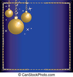 Christmas Blue Gold Ornaments