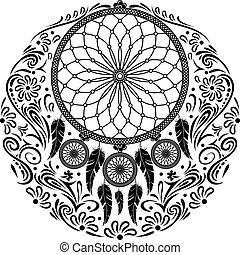 Vector - Hand-drawn mandala with feather
