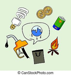 earth destruction global warming icon oil electricity money fire lamp drawing sketch in color