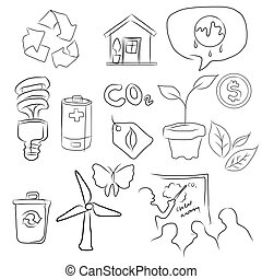 eco green icon set of environment in sketch drawing illustration