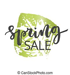 Spring sale hand written inscription with green leaf on...