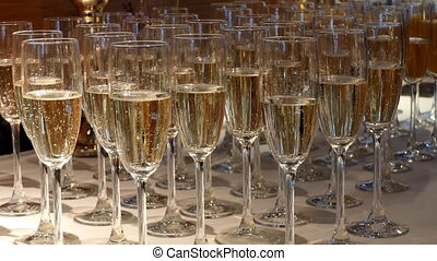 Glasses of champagne at wedding party