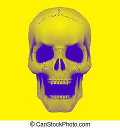Skull in vintage duotone and halftone style. - Human skull...