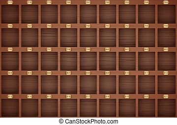 Vintage hotel front desk key rack. - Background of Vintage...