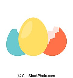 Colorfull egg with shell flat icon