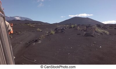 Old lava fields and volcanoes Tolbachik. stock footage video
