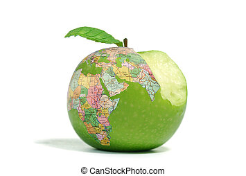 Global consumption - Bitten globe apple isolated on a white...
