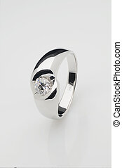 Platinum ring with brilliant - Platinum ring