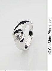 Platinum ring with brilliant - Platinum ring