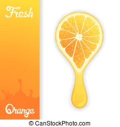 Stylized half orange from which squeezed fresh juice. Juicy...