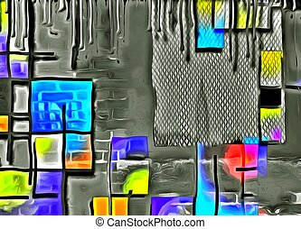 Town - Abstract painting. Mondrian style.