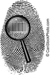 Finger Print Barcode with magnifying glass
