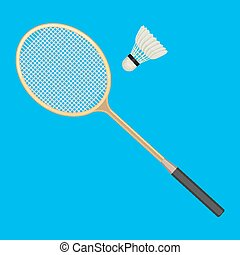 Badminton racket and white shuttlecock with black line....