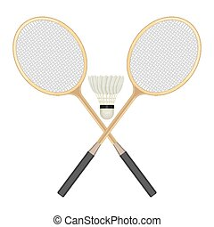Two crossed badminton rackets and white shuttlecock with black line.
