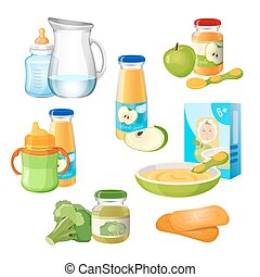 Organic food for babies vector poster. Juices and apple purees